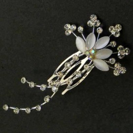 Clear Diamante Flower Fascinator