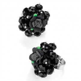 Jet Black Glass Bead and Flower Adjustable Ring