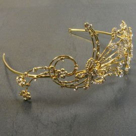 Large Gold Diamante Butterfly Tiara Band