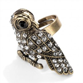 Antique Gold Tone and Crystal Bird Design Adjustable Ring
