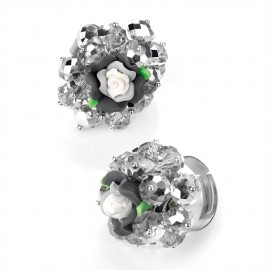 Clear Glass Bead and Black Flower Adjustable Ring