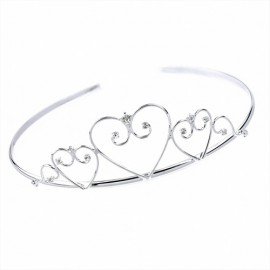 Diamante Heart Scroll & Loop Wire Tiara