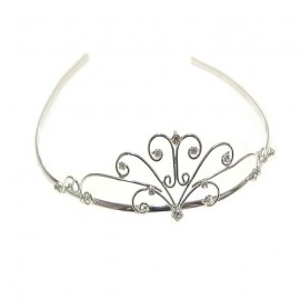 Diamante Floral Scroll Wire Tiara