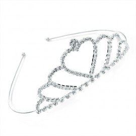 Diamante Crystal Heart Tiara