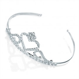 Diamante Crystal Heart Crown Tiara