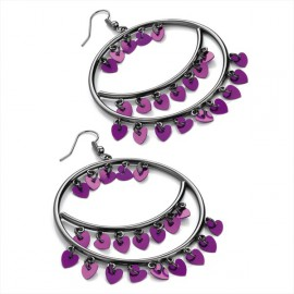 Haematite Tone & Purple Heart Round Wire Drop Earrings