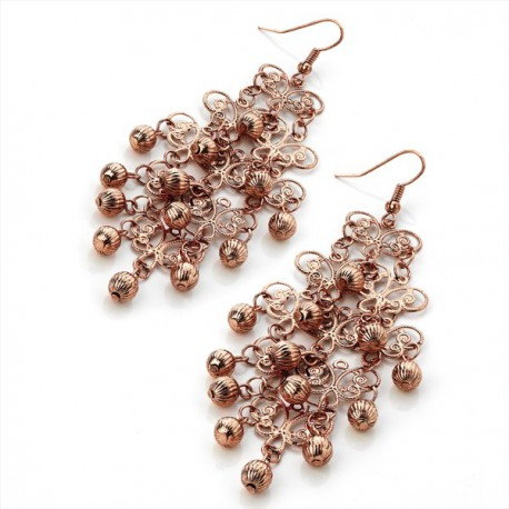 Antique Copper Tone Filagree Drop Earrings