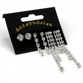 3 Pairs of Silver Tone Crystal Stud Earrings