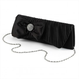 Black Diamante Crystal & Bow Clutch Evening Bag