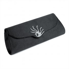Black Clutch Evening Bag with Diamante Crystal Peacock Motif