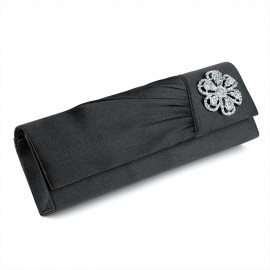 Black Clutch Evening Bag with Diamante Crystal Flower Motif