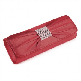 Red Clutch Evening Bag with Diamante Crystal Rectangle Motif