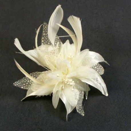 Ivory Feather Flower Fascinator