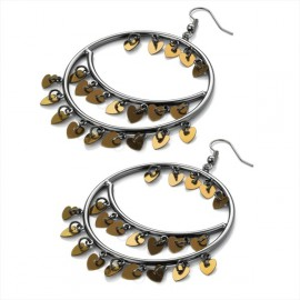 Haematite & Gold Tone Heart Round Wire Drop Earrings