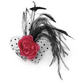 Fuschia & Black Feather Clip
