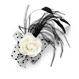 Ivory White & Black Feather Clip