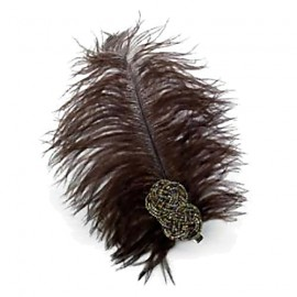 Dark Brown Feather & Bugle Bead Clip