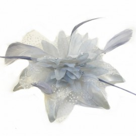 Silver Grey Feather Flower Fascinator
