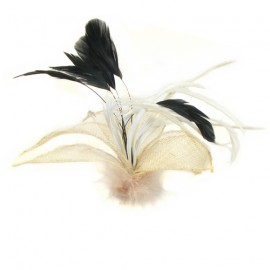 Cream Mesh and Feather Flower Fascinator