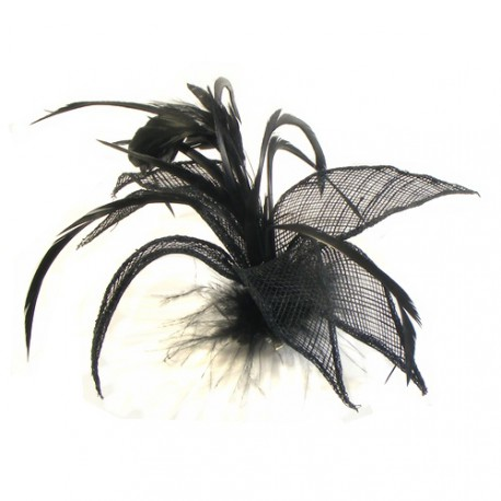 Black Mesh and Feather Flower Fascinator