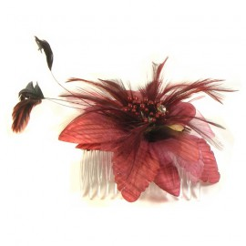 Vibrant Dusky Rose Flower and Feather Fascinator