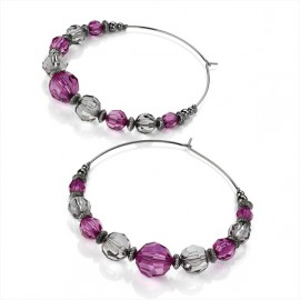 Purple & Clear Bead Hoop Drop Earrings