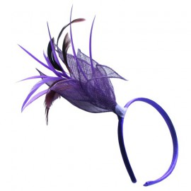 Large Purple Mesh Fabric Flower with Feathers Alice Band