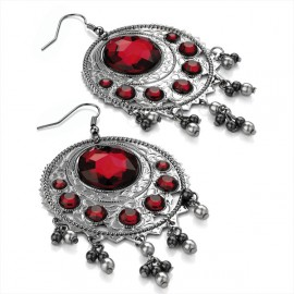 Haematite Tone & Red Crystal Bead Hoop Wire Drop Earrings