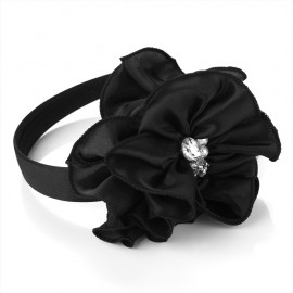 Black Flower, Pearl & Crystal Fascinator Alice Hair Band