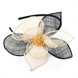 Cream & Black Fascinator Alice Hair Band