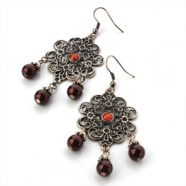 Burnt Copper Tone & Red Bead Wire Drop Earrings