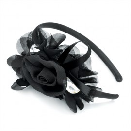 Black Crystal Flower Alice Hair Band