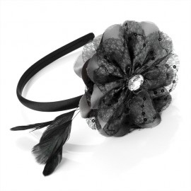 Grey and Black Lace Flower Feather Fascinator Alice Hair Band