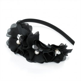Black with Crystal and Faux Pearl Alice Hair Band