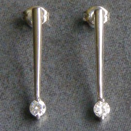 Sterling Silver Cubic Zirconia Drop Studs
