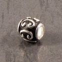 Sterling Silver and Black Swirl Spacer Charm