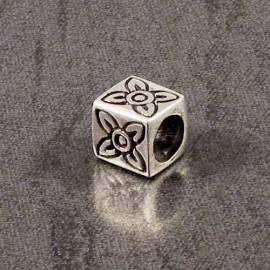 Sterling Silver Flower Cube Spacer Charm