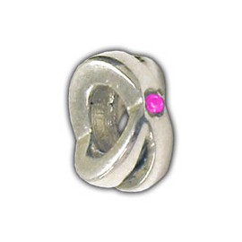 Carlo Biagi Silver Pink CZ Ring Spacer Charm