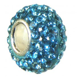 Sterling Silver Turquoise Blue Cubic Zirconia Bling Charm