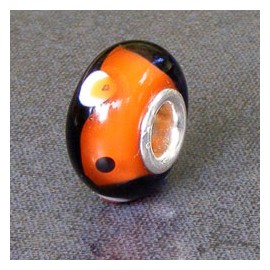 Black/Orange Glass Bead