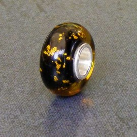 Yellow/Black Foil Glass Bead