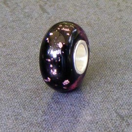 Pink/Black Foil Glass Bead