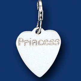 Silver Princess Heart Sweetie Charm