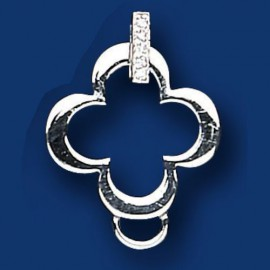 Silver CZ Charm Connector Sweetie Charm