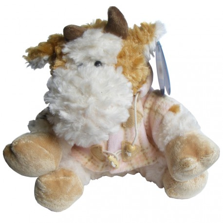 Cute N Soft Toy Cow (23cm) with Pink Duffel Coat