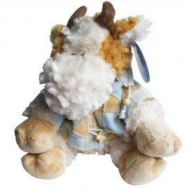 Cute N Soft Toy Cow (23cm) with Blue Duffel Coat