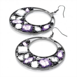 Hematite Tone with Purple and Clear Crystal Round Earrings