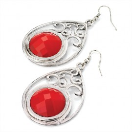 Silver Tone and Red Crystal Teardrop Wire Drop Earrings