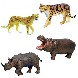 Wild Animals 4D 3D Puzzle Egg Toy Kit Collection 7 (Set of 4)