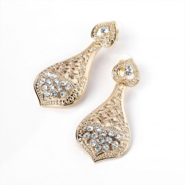 Gold Tone and Crystal Filigree Stud Earrings